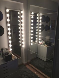 At the corner of my room is two full length mirrors. Prior to the revamp of my room, I only got a little mirror behind my wardrobe. One of the mirrors has lights that are really bright. It is the same(Diy Vanity Mirror With Lights) Diy Vanity Mirror, Vanity Room, Body Mirror, Table Mirror, Storage Mirror, Ikea Storage, Closet Storage, Bedroom Storage, Bedroom Lighting