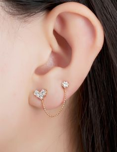really small studs in second ear piercing - Google Search                                                                                                                                                                                 More
