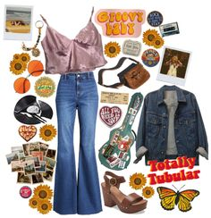 Discover outfit ideas for Inspired Spring Trend made with the shoplook outfit maker. How to wear ideas for flower and 70s Inspired Outfits, 70s Inspired Fashion, 70s Outfits, Hippie Outfits, 70s Fashion, Vintage Outfits, Cute Outfits, Fashion Outfits, Skater Outfits