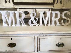 WEDDING  MR & MRS  LARGE VINTAGE  SHABBY CHIC  Letters FREESTANDING 15CM HIGH