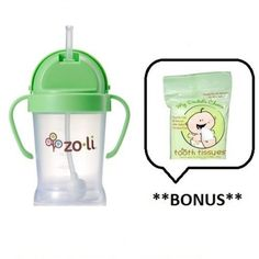 ZoLi BOT Straw Sippy Cup (Color: Green) with Sample of Tooth Tissues by ZoLi