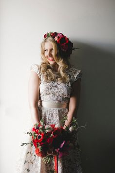 Best Hairstyles for Brides - loose Curls with Flower Crown- Amazing Hair Styles and Looks for Half Up Medium Styles, Updo With Long Hair, Short Curls, Vintage Looks with Veil, Headpieces, or With Tiara - Wedding Looks for Girls With Round Faces - Awesome Simple Bridal Style With Headband or Elegant Braided Up Dos - thegoddess.com/hairstyles-for-brides