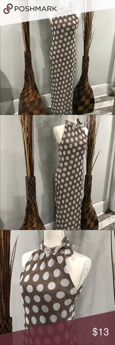 Long sleeveless polka dot dress😀 Brown and white long maxi dress.. brand is Donna.. excellent condition Dresses Maxi