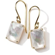 Ippolita 18k Gold Rock Candy Gelato Single Rectangle Drop Earrings (€770) ❤ liked on Polyvore featuring jewelry, earrings, accessories, brincos, pearl, 18k earrings, french hook earrings, 18k gold earrings, 18 karat gold earrings and clear drop earrings
