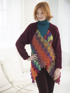 Love entrelac knitting? Try this Eclectic Entrelac Cardigan made with vanna's CHoice and Unique.