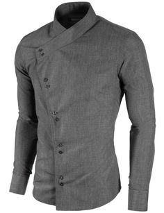 MODERNO Mens Slim Fit Asymmetric Casual Shirt (MOD1430LS) Charcoal