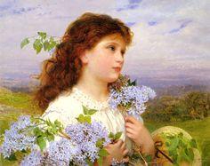 ソフィー・アンダーソン「金の籠」。ソフィー・ジャンジャンブル・アンダーソン(Sophie Gengembre Anderson, 1823年 フランス・パリ - 1903年3月10日 イギリス・コーンウォール・ファルマス)は、フランス生まれのイギリスの画家。田園風景を背景にした子供と女性の絵を専門とした。