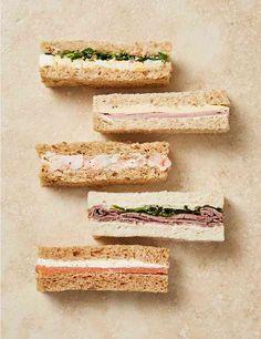 Afternoon Tea Sandwich Fingers Pieces) F Food ideas Gourmet Sandwiches, Sandwich Bar, High Tea Sandwiches, Finger Sandwiches, English Tea Sandwiches, Baby Shower Sandwiches, Tea Party Sandwiches Recipes, Salmon Sandwich, Afternoon Tea Recipes