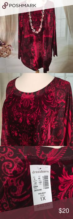 Dress Barn Red and Black Knit Top Today, featuring in Kaki Jo's closet is this beautiful red and black knit top.  Love the feel, like velour.  Very pretty.  New with tags.  Size 1X.  Note: necklace not included. Dress Barn Tops