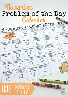 Looking for a fun and unique math resource? Kids will LOVE this November Problem of the Day calendar. Do one problem a day, or use it like a puzzle! Math Resources, Math Activities, Addition Activities, Math Strategies, Homeschool Math, Homeschooling, Thanksgiving Math, Math Talk, Teaching Math