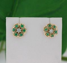 Beautiful Solid 14kt Yellow Gold Genuine Round Diamond Emerald Stud Earrings | eBay