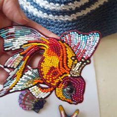 #goldenfish #embroidery #handmade #brooch #sashagruzinova #madewithlove #бисер #стеклярус#украшенияручнойработы #брошь #авторскийпроект…