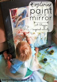 Explore w/Paint on a Mirror - a great sensory activity for preschool-aged children.
