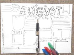 august journal monthly month journaling printable planner bujo