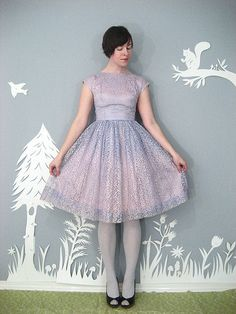 Delicate dress where the colors gradate from lavender into soft pink.
