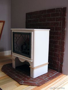 Woodstove Part 3 - Brick Surround. Tutorial from Otterine's Miniatures website for her woodstove. Build: Artist's Studio; Tutorial for her beautifully made woodstove.