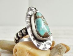 Navade Mine 9 Turquoise Ring, Rustic Western Style Ring, Beaded Band | WestWindCreations - Jewelry on ArtFire