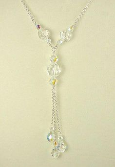 Swarovski Crystal Tassel Necklace - Clear AB Unique Handmade Jewelry Read at… Crystal Jewelry, Wire Jewelry, Jewelry Crafts, Wedding Jewelry, Beaded Jewelry, Jewelery, Moonstone Jewelry, Bridesmaid Jewelry, Crystal Necklace
