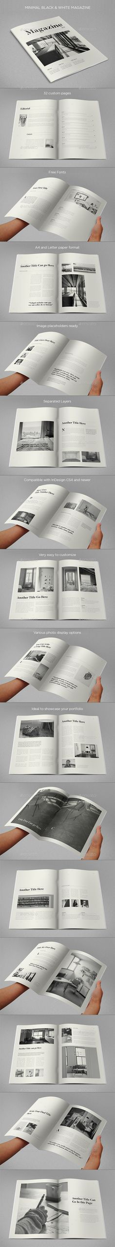 Minimal Black & White Magazine Template InDesign INDD. Download here: https://graphicriver.net/item/minimal-black-white-magazine/17358159?ref=ksioks