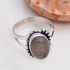 925 STERLING SILVER EXCLUSIVE RUTILE RING 4.47g DJR4380 #Handmade #Ring