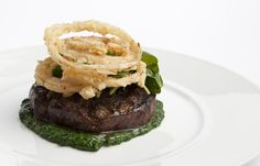 A sublime rib eye steak recipe from Richard Corrigan which pairs the meat with an accomplished watercress sauce and homemade onion rings
