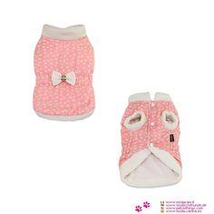 Rosa Mantel mit Bogen für kleine Hunde - Mantel für einen kleinen Hund (Pudel) mit rosa Stoff mit vielen kleinen weißen Blüten gedruckt; Innenraum ist sehr heiß, weil mit Plüsch gestopft