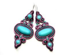 Taj Mahal 1 - turquoise pink lavender and purple -  soutache earrings  free shipping