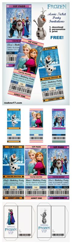 This Pin was discovered by Arlene's Place. Discover (and save!) your own Pins on… Birth Cakes, Frozen Party Invitations, Build A Snowman, Admit One, Movie Tickets, 3 Kids, Youre Invited, Disney Trips, 5th Birthday