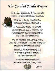Combat Medic Prayer ... I have this framed