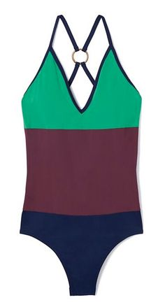 Tory Burch Color-Block Plunging One-Piece