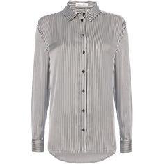 Replay Striped print satin shirt (6.415 RUB) ❤ liked on Polyvore featuring tops and blouses