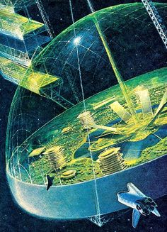 Life in space.  Domed Space City by Andrei Sokolov, 1981.  #SpaceCity  #SpaceDome  #SpaceColony  #Andrei Sokolov