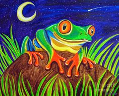 Red-eyed tree frog and starry night Painting by Nick Gustafson - Red-eyed tree frog and starry night Fine Art Prints and Posters for Sale
