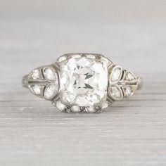 1.80 Carat Vintage Old Mine Cut Diamond Engagement Ring
