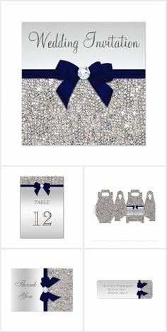 Glamorous,elegant, Navy Blue Bow Silver Sequins Wedding invitations, thank you cards, address labels, table number cards, personalized favor boxes etc.
