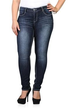 4cb70a27313 Reign Basic Blue Black Skinny Jean with Embroidered Back Pocket