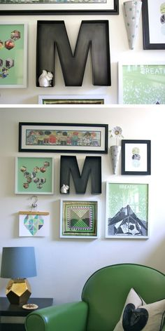 Gallery wall with a mixture of old & new items.