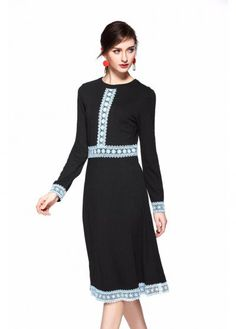 Modest A Line Black Dress with Blue Lace Trimming