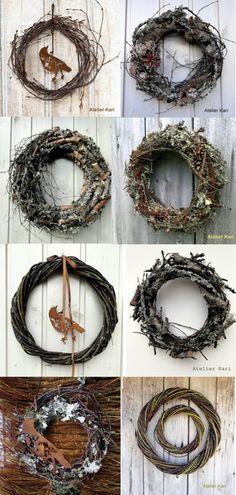 Atelier Kari naturdekorasjoner og kranser: Kransekavalkade med kvistkranser, lavkranser og julekranser i naturmaterialer