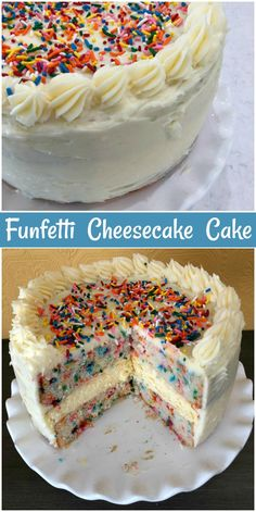 Artes, Viagens e Gastronomia - Funfetti Cheesecake Cake # buzios - {hashtag} Brownie Desserts, Oreo Dessert, Mini Desserts, Just Desserts, Delicious Desserts, Health Desserts, Cheesecake Cake, Cheesecake Recipes, Dessert Recipes