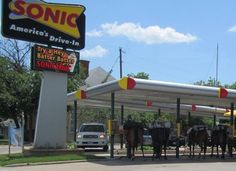 "Seriously - you only see this in Texas - horses ""parked"" at the Fort Worth Sonic - Taken from this FB page - https://www.facebook.com/photo.php?fbid=448916618469797=p.448916618469797=1"