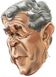 caricatures of presidents | Cartoon: George Bush (medium) by zsoldos tagged usa,president,now