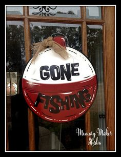 Boat Names Discover Gone Fishing Door Hanger made out of lightweight PVC with UV lamination for indoor or outdoor use Fishing Camp River Camp Lake house Wooden Doors, Wooden Signs, Wood Crafts, Diy Crafts, Burlap Door Hangers, Lake Decor, Fish Camp, Making Ideas, Making Out
