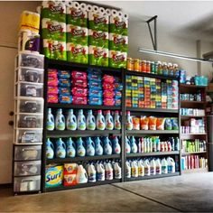 Stockpile and coupon organization and storage. Coupon Organization, Organization Hacks, Stock Room, Couponing For Beginners, Coupon Stockpile, Diy Garage Storage, Emergency Preparedness, Survival, Extreme Couponing