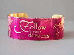 "Angel Horses Bracelet Etched Brass Cuff,  Follow your dreams, 1"" wide handmade, fuchsia pink cranberry, Joann Hayssen SRA"