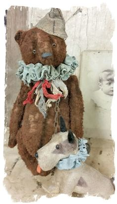 "Image of 2pc SET * Old Carnival Bear & Vintage Fripon Bleuette Dog 9"" Antique Style - * By Whendi's Bears"