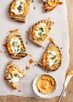 Sweet Potato Tahini Crostini: A sweet potato spiked hummus is a perfect match for ricotta and toast. Sage leaves add a delicate and beautiful touch. (via Love and Lemons)