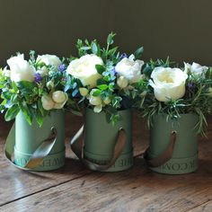 The Real Flower Company Ivory Trio - I love the arrangements in the boxes!