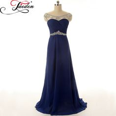 >> Click to Buy << JAEDEN A Line Bridesmaid Dresses Beading Crystal Backless Sexy Elegant Chiffon Floor Length E035 Scoop Party Dress 2017 #Affiliate