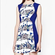 """French Connection Multi Color Bonita Stripe Dress Inject a pop punchy colour into your wardrobe with this monarch blue floral skater dress. Slimming colour blocked side panels mean you'll cut a clean-lined, feminine silhouette. Lenght: 33.5"""". NWT French Connection Dresses Mini"""
